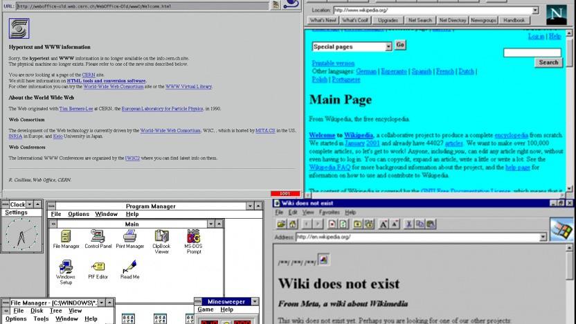 Mosaic 2.7 (links oben), Netscape Navigator (rechts oben), Windows 3.1 (links unten) und Internet Explorer 1 (rechts unten).
