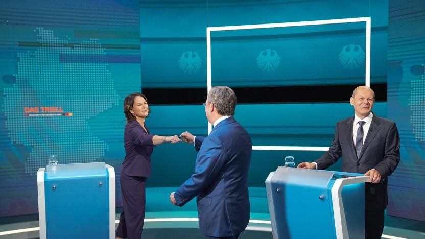 Annalena Baerbock, Armin Laschet und Olaf Scholz (v. l. n. r.) beim Kandidatentriell auf RTL