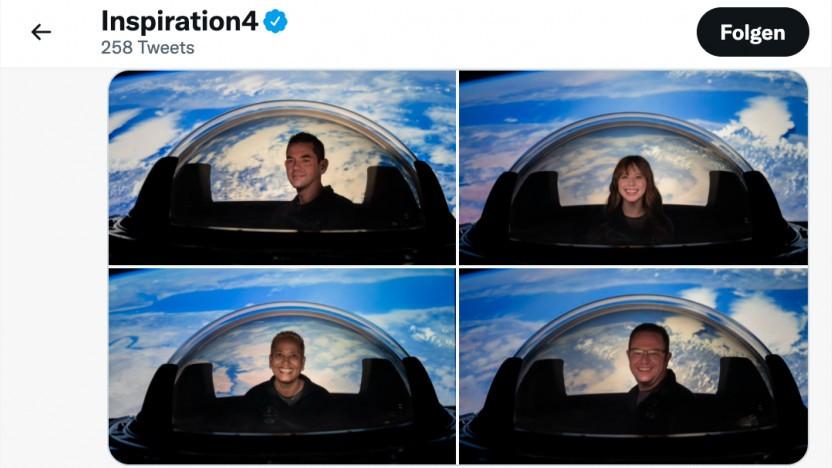 Inspiration4 zeigt auf Twitter Bilder des Kuppelfensters.