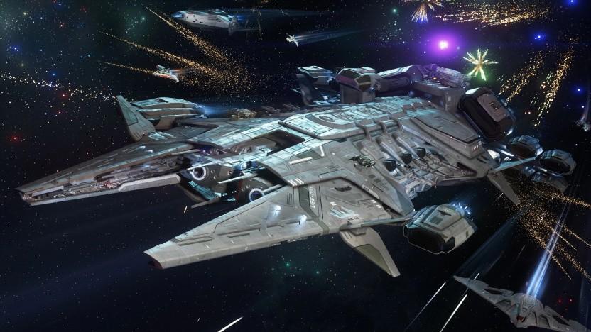 Der Javelin ist das bisher größte Schiff in Star Citizen. Gut, dass es in Xenothreat auf unserer Seite ist.