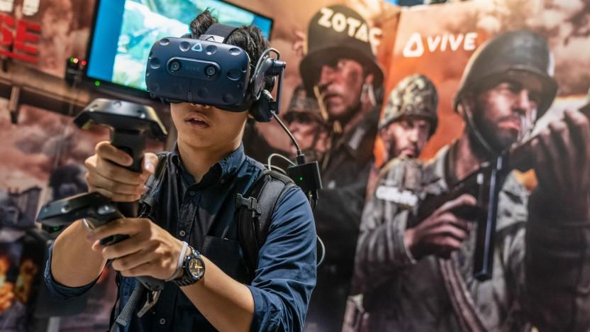 Computerspieler auf einer Messe in Hongkong