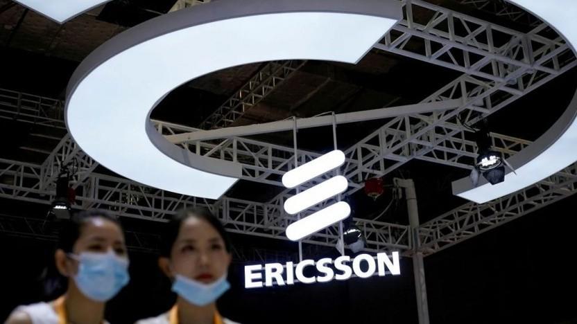 Ericsson-Logo auf der China International Import Expo (CIIE) in Schanghai