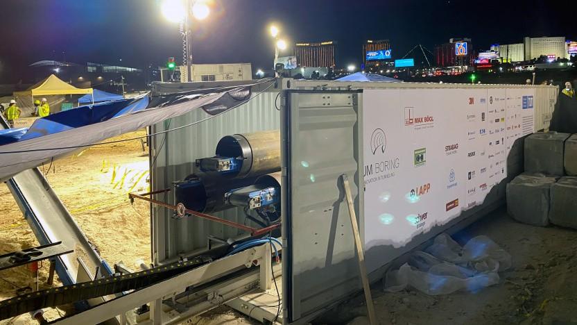 Die Tunnelbohrmaschine der TUM in einem Container in Las Vegas.