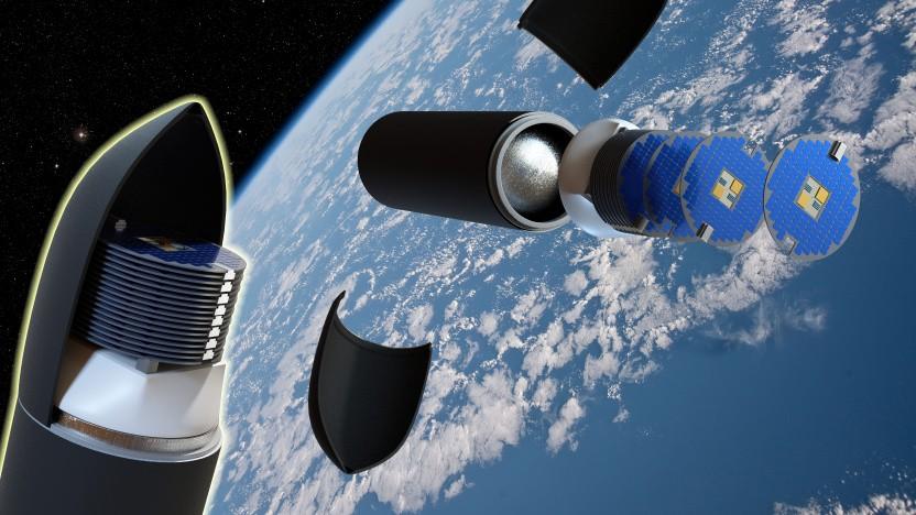 Scheibenförmige Satelliten sollen den Aufbau kostengünstiger Konstellationen mit kleinen Raketen möglich machen.