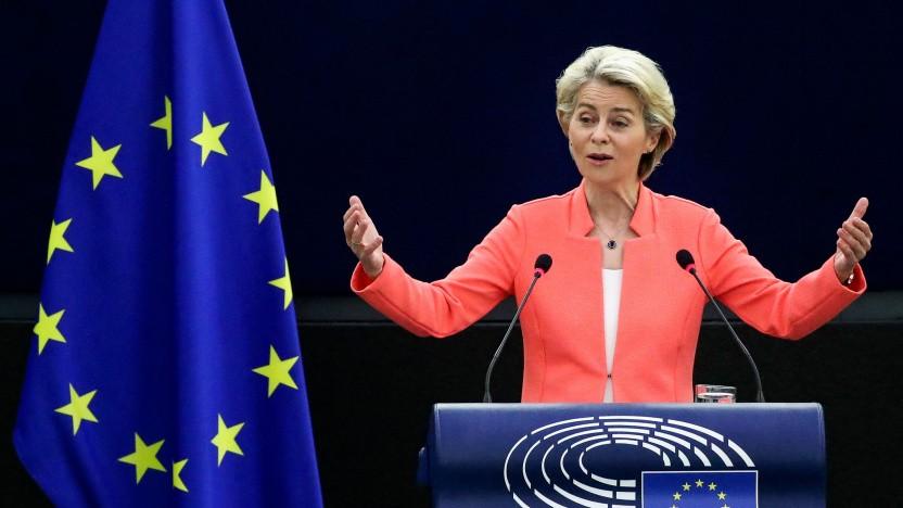 Ursula von der Leyen bei ihrer Rede im EU-Parlament
