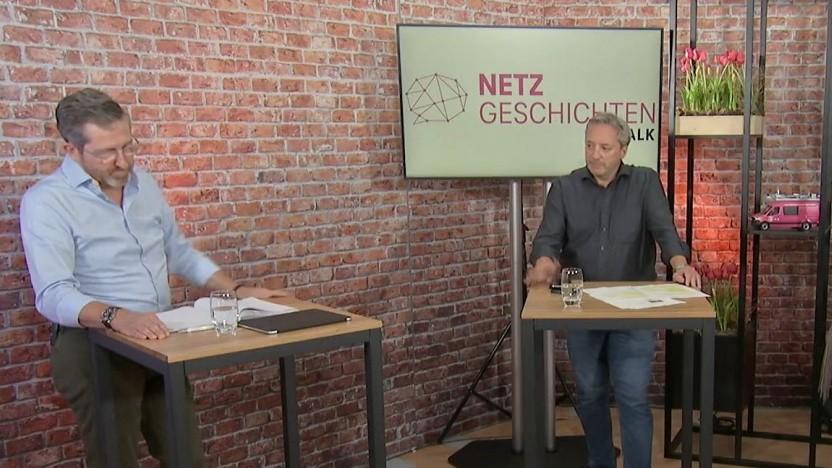 Die Diskussionsrunde der Telekom mit dem Breko (Walter Goldenits, Technikchef der Telekom, links und Stephan Albers, Breko, rechts im Bild.