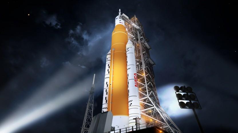 Eine Illustration der NASA-Mondrakete SLS