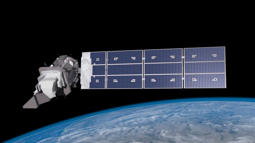 Eine künstlerische Darstellung des Landsat-9 Satelliten im Weltall.