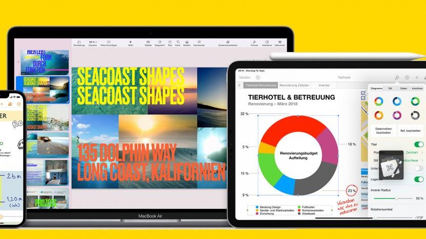 iWork-Suite auf iPhone, iPad und Mac