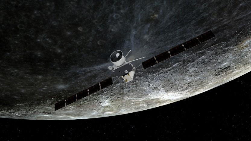 Eine künstlerische Darstellung von der Bepicolombo-Mission vor dem Merkur