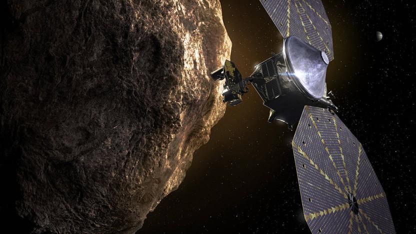 Illustration der Raumsonde Lucy beim Vorbeiflug an einem der trojanischen Asteroiden in der Nähe des Jupiters.