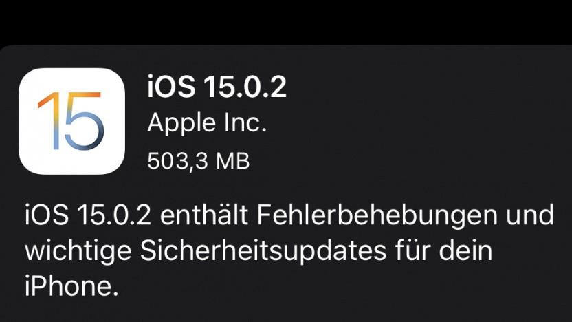 Das Update auf iOS 15.0.2 ist da.