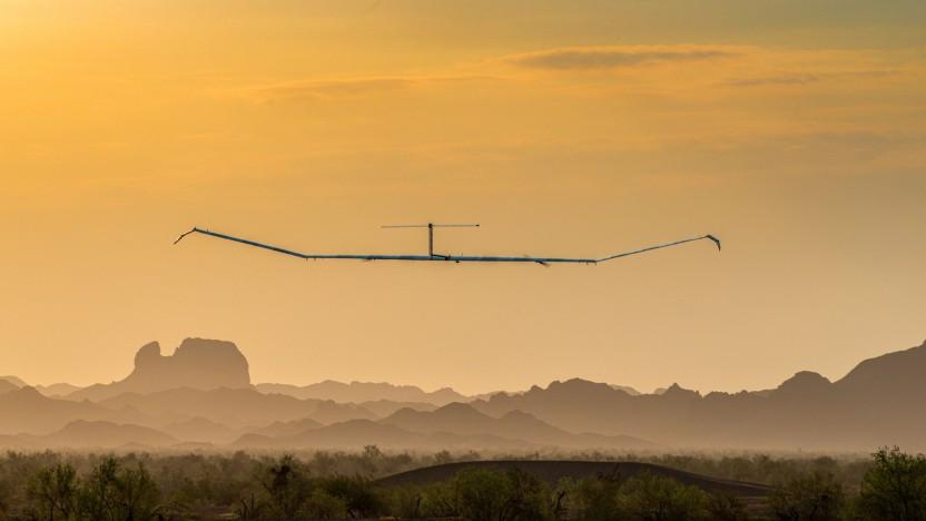 Das Airbus Zephyr Solar High Altitude Platform System (HAPS) im Sommer 2021 bei Testflügen