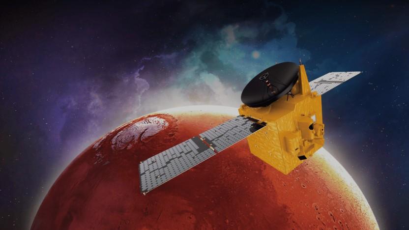 """Die Raumsonde """"Hope"""" der Vereinigten Arabischen Emirate am Mars als künstlerische Darstellung."""