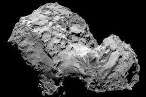 Komet 67P/Tschurjumow-Gerassimenko, auch kosmische Gummiente genannt  (Bild: Esa/Rosetta/MPS for OSIRIS Team MPS/UPD/LAM/IAA/SSO/INTA/UPM/DASP/IDA), 67P/Tschurjumow-Gerassimenko