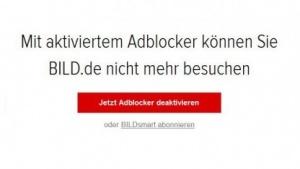 Onlinemedien wie Bild.de sperren Adblocker-Nutzer aus. (Bild: bild.de), AdBlocker