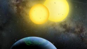 Kepler-35b ist ein Exoplanet in einem Doppelsternsystem (Bild: Lynette R. Cook), Exoplanet
