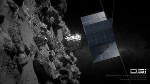 Auf der Suche nach Rohstoffen auf Asteroiden (Bild: Bryan Versteeg/ Deep Space Industries), Weltraumbergbau